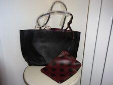ZARA REVERSIBLE BLACK / BROWN POLKA DOT TOTE SHOPPER BAG WITH ZIPPED POUCH