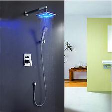 12-inch LED Light Rain Shower Faucet Set Mixer Tap Shower Head+Handheld Spray