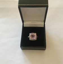 Lovely Sterling Silver Purple Solitaire with Accents Ring - Size P