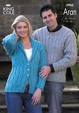 "King Cole Aran Knitting Pattern 2945 Womens & Mens Sweater & Jacket 34""-48"""