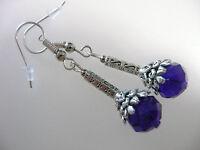 Vintage Art Deco Style Bristol Blue Crystal /& Long Teardrop Glass Long Earrings
