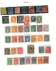 Chile. 1853-1940. A collection of MH/U stamps on SG/Scott pages.