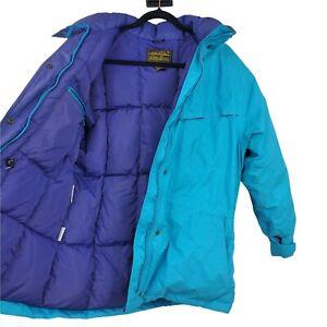 Eddie Bauer Vintage Gore-tex Large  Parka Goose Down Jacket Coat Blue Puffer