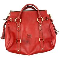 DOONEY & BOURKE Womens Red Pebbled Leather Satchel Purse Braided Handles