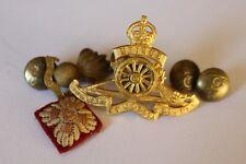 WW2 Royal Artillery Regiment Gilt Officer's Cap Badge ,Collar ,pip RA Buttons