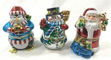 Mr Christmas Large Animated Music Boxes Set 3  Penguin Snowman Santa Metallic