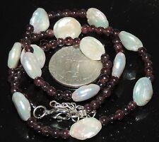 "Vintage Sterling 12 mm Coin Pearl & 4 mm Garnet Bead Necklace 24.41 Grams 17.5"""
