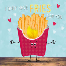 Valentine's Day Card I Only Have Fries For You Cute Gloss Finish Valentines