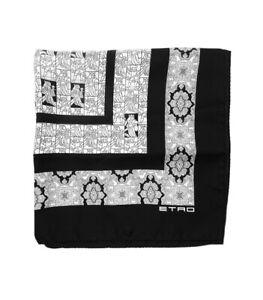 Etro Black And White Paisley Knight 100% Silk Pocket Square Milan Italy NWT $120
