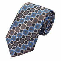 Jason&Vogue Designer Krawatte in dunkelgrau mit blau braunen Karos
