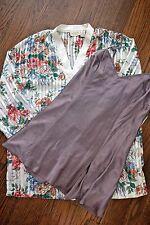 Victoria's Secret silk taupe gown sz M & floral button up robe/top sz S