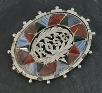 Scottish Victorian Silver Banded Agates & Bloodstone ROSE Brooch