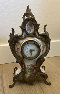 "Antique French Sevres Painted Porcelain 12"" Clock Bronze/Brass Ormolu As-Is"
