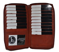 CREDIT CARD HOLDER WALLET WITH ALL AROUND ZIPPER NEW BROWN  GENUINE LEATHER