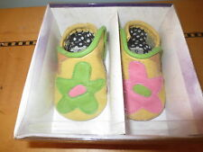 New Goody Goody leather slip on pink green yellow flower baby shoes sz 1 to 6 mo