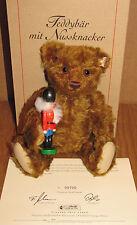 STEIFF TEDDY BEAR WITH CHRISTMAS NUTCRACKER BOX & CERTIFICATE GERMAN MOHAIR NICE