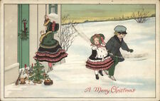 Christmas - Little Girl at Door w/ Gifts c1910 Postcard