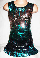 GIRLS 60s STYLE GREEN BRONZE MIX SPARKLING SEQUIN DISCO DANCE PARTY DRESS TOP