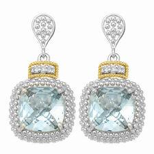 Phillip Gavriel 18k Gold Silver Square Blue Topaz .01ct White Diamond Earrings