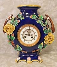 Vintage Majolica Porcelain Case Clock Open Escapement No Pendulum Not Running