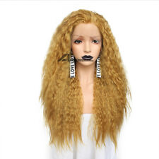 Blonde Brown Copper Red Fluffy Wigs Afro Kinky Curly Lace front Wig Drag Queen
