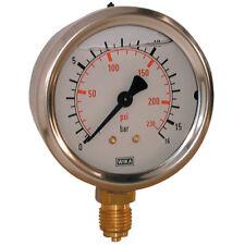 """WIKA Manómetros -0-4 Bar 100mm diámetro Relleno 3/8"""" BSP Bott 4-00366"""