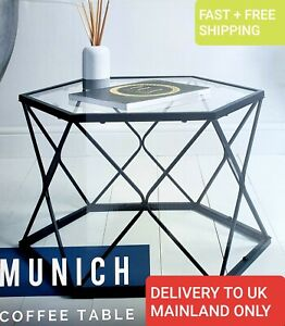 Munich Coffe Table, Black Metal Base And Clear Glass Top