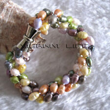 """8"""" 5-6mm Multi Color Rice 4Row Freshwater Pearl Bracelet Magnetic Clasp U"""