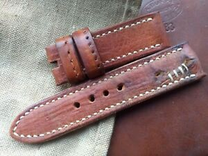 26mm AMMO Punch leather, Vintage old school Handmade watch strap, light brown