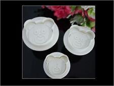 Set of 3 - Teddy Bear DIY Handmade Cookie Barkey Biscuit Cutter Stamper Mould