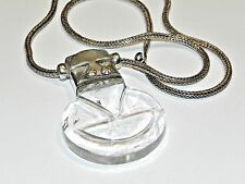 925 Sterling Silver Wheat Chain Necklace & Rock Quartz Crystal Statement Pendant