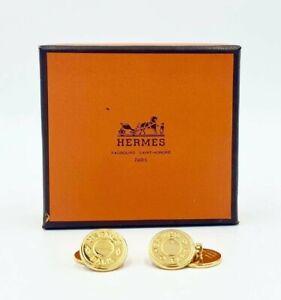 New in Box Pair Men's Hermes Paris Bijouterie Fantaisie Gold Plated Cufflinks
