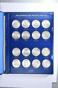Complete Franklin Silver 50C Half Dollar Whitman Album 35 Coins (1059-2) 99c NR