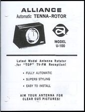 *Copy Alliance Automatic Tenna Rotor Model U-100 Owner's Manual With Schematic