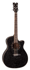 Dean Guitars EQA TBK Exotica Quilt Ash Acoustic-Electric Guitar, Trans Black Glo
