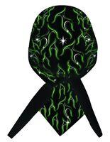Toxic Green Black Flame Durag Doo Rag Headwrap Skull Cap Sweatband Capsmith