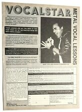 Queensryche / Geoff Tate Metal Vocal Lessons Magazine Full Page Pinup Clipping