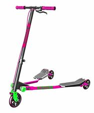 Y Fliker A3 Air Series Folding Scooter - Pink & Green - 7+ Years