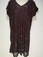 Next Maroon Sequins Shift Dress - Size 12 (512g)
