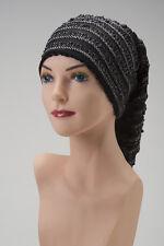 CHEMO SCARF Black and White Layered ALOPECIA Cancer Hat Cap Turban Tube Snood