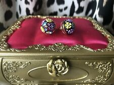Betsey Johnson Spring Ahead Purple Crystal Embellished Floral Ball Stud Earrings