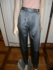 Pantaloni tg 42 Leonia in pura seta di corlor grigio e bottoni gioiello
