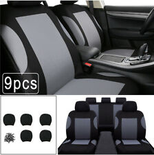 9Pcs Car SUV Seat Covers Set For Auto Front + Rear Seat Headrests Universal Gray