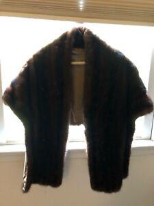 Vintage Mink Stole Wrap Jacket Coat Dark Brown