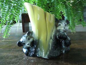 AMERICAN BISQUE Playing Black BEAR CUBS & Tree Trunk Planter Flower Pot Vase