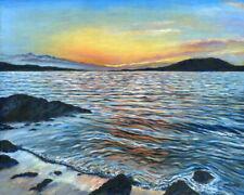 "Sunset seascape, Ireland art, 20x16"" painting, ready to hang"