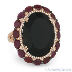 16.10ct Oval Black Onyx & Ruby Cocktail Ring w/ Diamond Accents in 14k Rose Gold