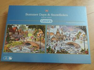 Gibsons Summer days & Snowflakes 2 x 500 piece Jigsaw Puzzles complete vgc