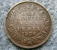 INDIA BRITISH KING GEORGE V 1936 1/4 QUARTER ANNA