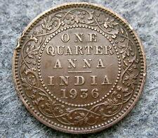 INDIA BRITISH KING GEORGE V 1936 1/4 QUARTER ANNA